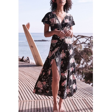 Lovely Trendy Printed Asymmetrical Black Rayon Ankle Length Dress