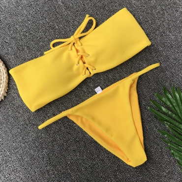 Lovely Yellow Lace-up Two-piece Swimwear
