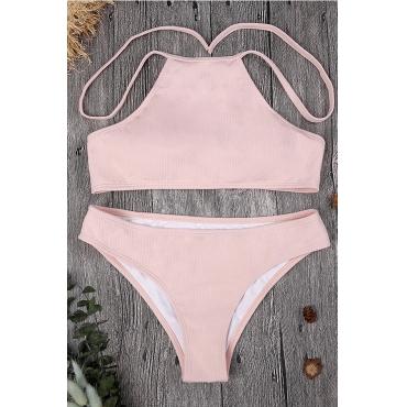 Lovely Pink Backless Nylon Two-piece Swimwear