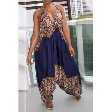 Lovely National Style Totem Printed Dark Blue One-piece Jumpsuit