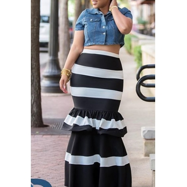 LovelyTrendy High Waist Striped Black Skirt