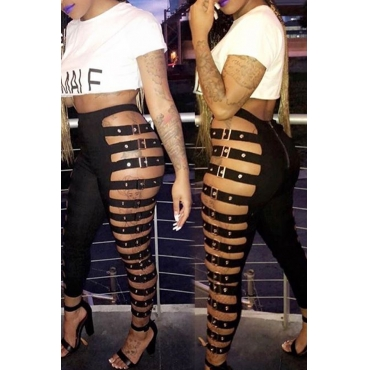 LovelySexy High Waist Hollow-out Black Leather Pants