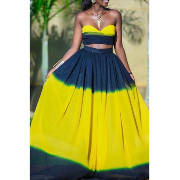 Lovely Trendy Dew Shoulder Yellow Two-piece Skirt Set