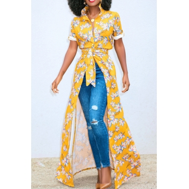 Lovely Euramerican Printed Yellow Lace-up Shirts