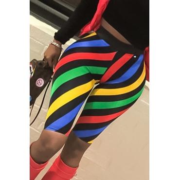 Lovely Euramerican Elastic Waist Striped Shorts