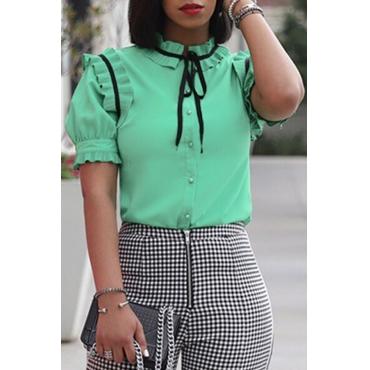 Lovely Trendy Short Sleeves Falbala Green Blouse
