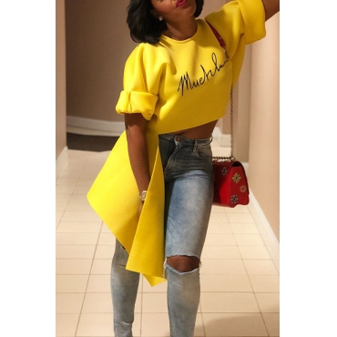 LovelyCasual Asymmetrical Yellow T-shirt