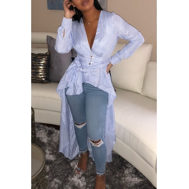 Lovely Casual Asymmetrical Striped Blue Blouses