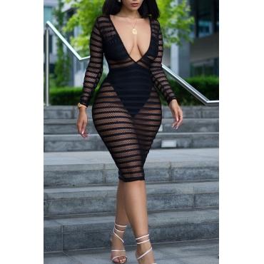 Lovely Sexy Deep V Neck See-Through Black Gauze Knee Length Dress