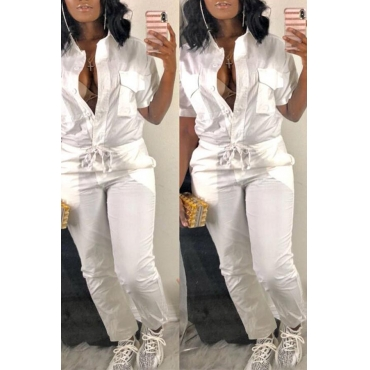 LovelyTrendy  Button Design   White One-piece Jumpsuit