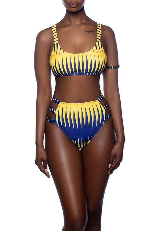 Lovely  Euramerican Printed Yellow Three-piece Swimwear