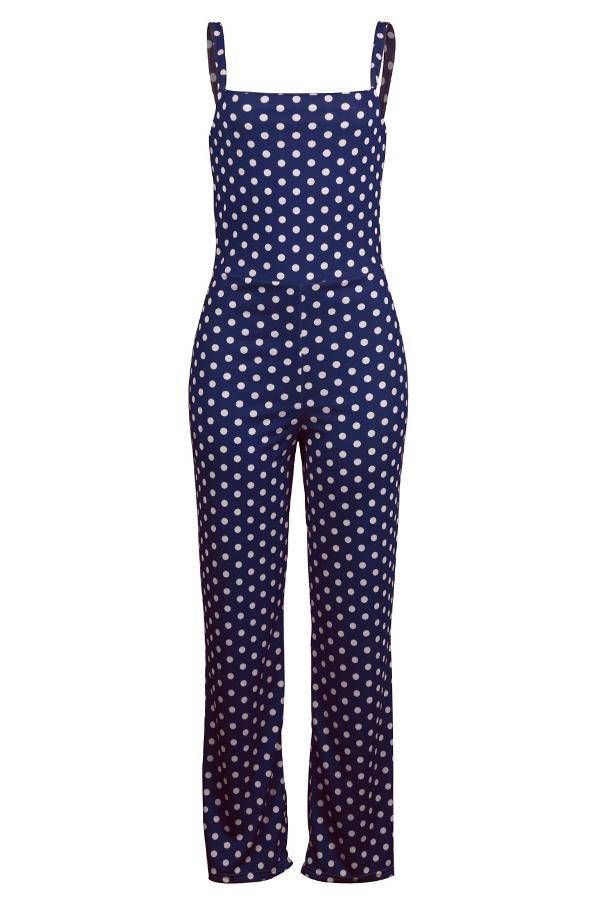 LovelyEuramerican Dots Printed Dark Blue Knitting One-piece Jumpsuit