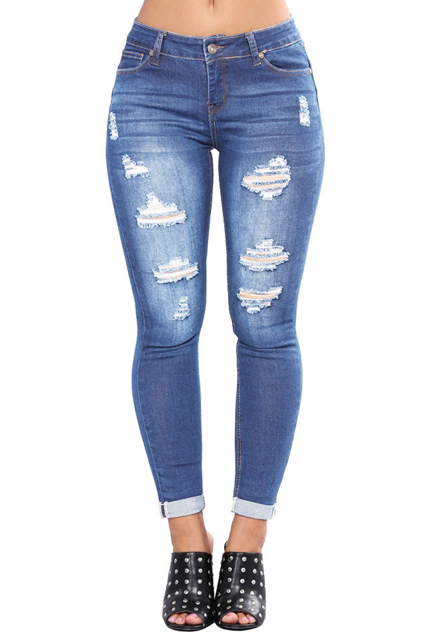 Jeans Lovely Casual Hollow-out Baby Blue Jeans