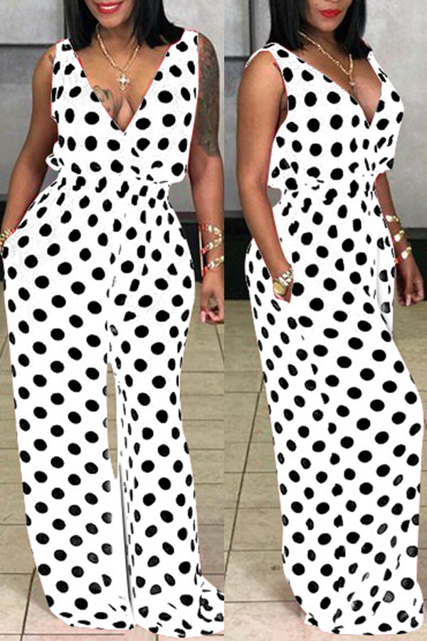 Lovely Casual Polka Dot Printed White  One-piece Jumpsuit