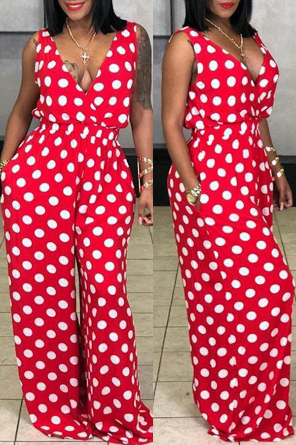 Lovely Euramerican Dots Printed  Red   One-piece Jumpsuit