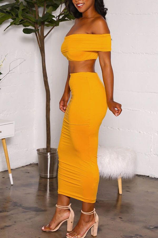 Lovely Euramerican Dew Shoulder Yellow Two-piece Skirts Set