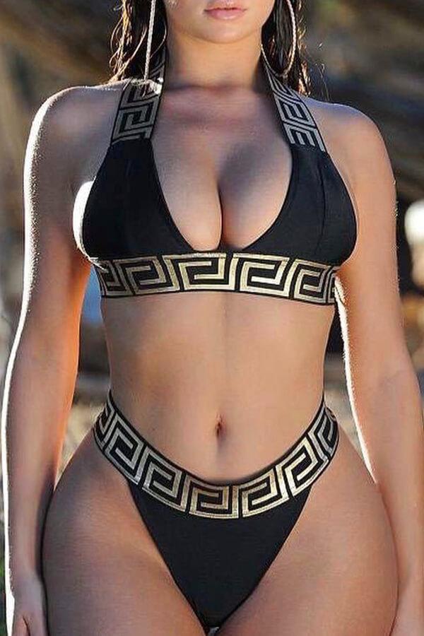 Lovely Euramerican Printed Black Two-piece Swimwear