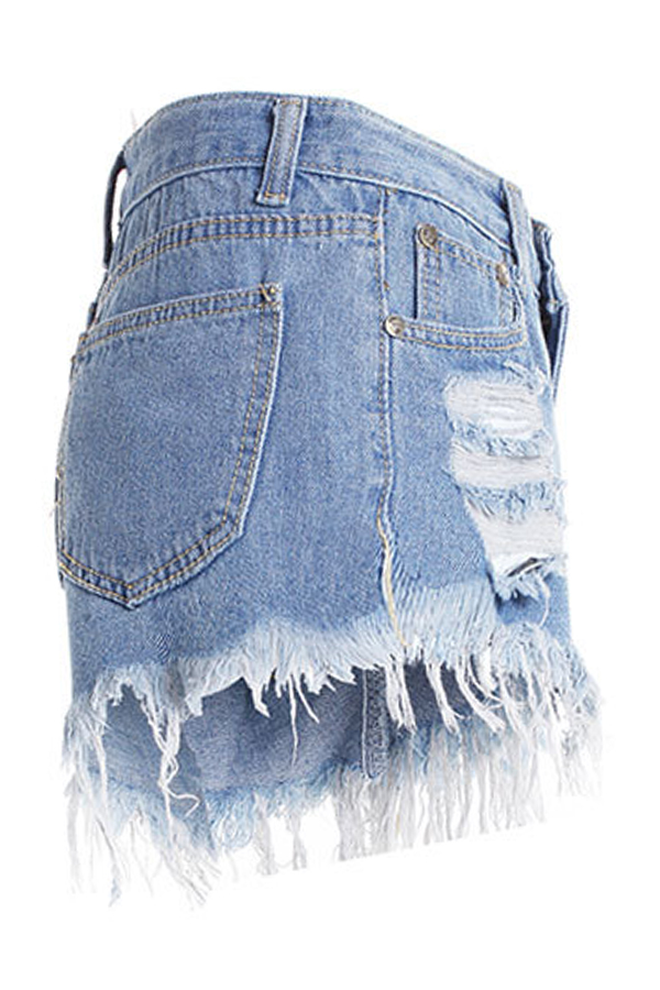 Lovely  Casual  Broken Holes Torn Edges Baby Blue  Denim Shorts