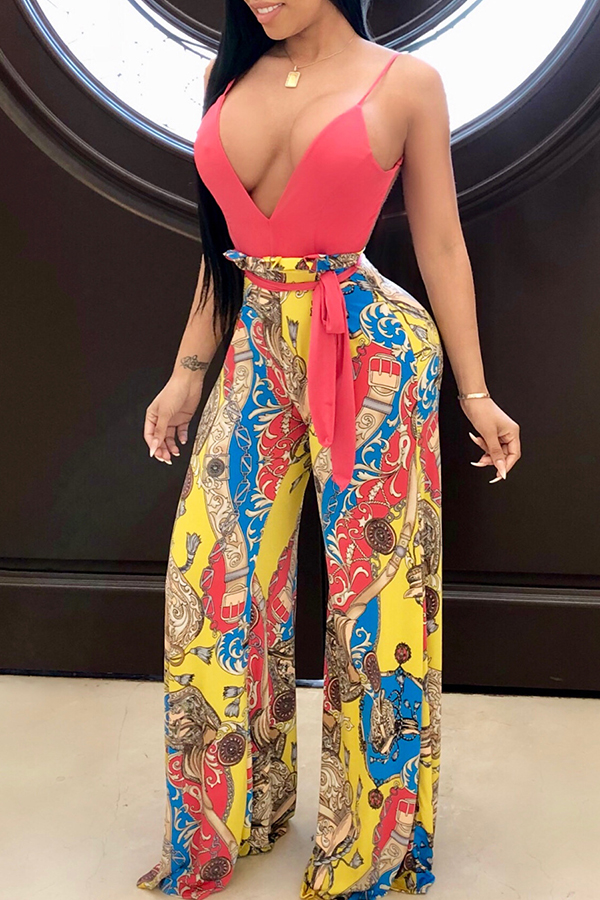 c16fa6a661d Lovely Euramerican Deep V Neck Floral Printed Red One-piece Jumpsuit (With  Belt )