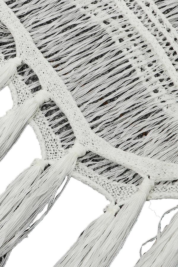 Lovely Casual Tassel Fringed White  Cover-up