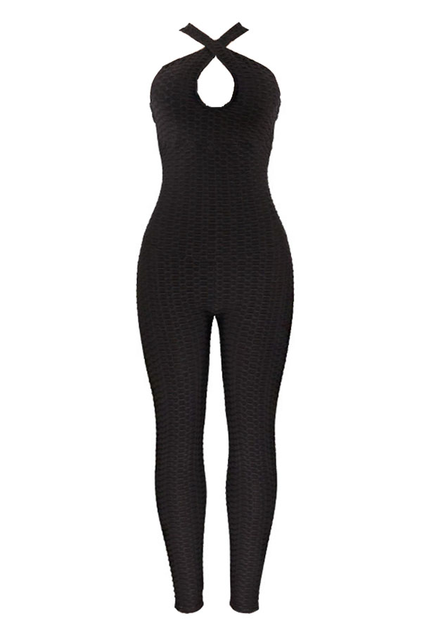 Lovely Sexy Backless Hollow-out Black One-piece Jumpsuit