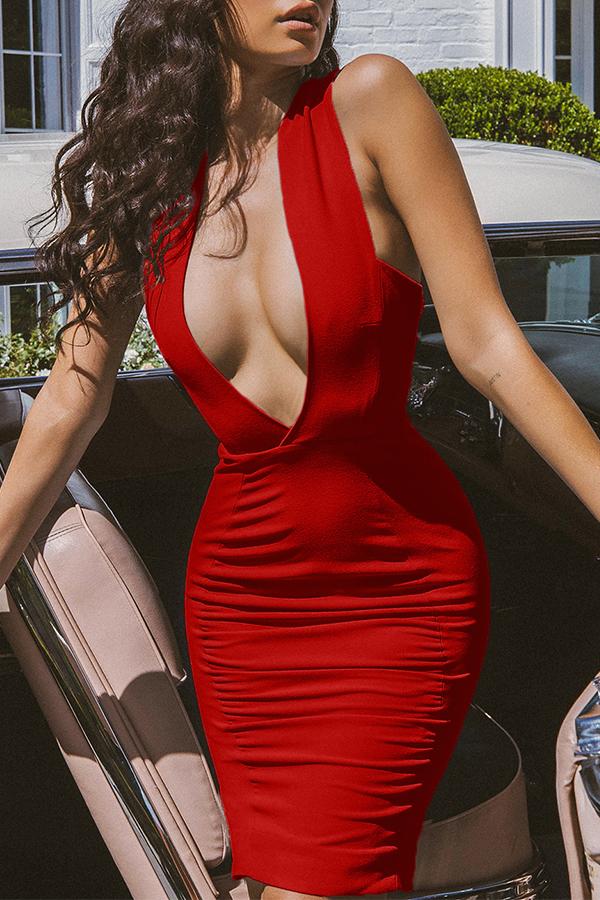 Lovely Trendy Deep V Neck  Drape Design Red Knee Length Dress