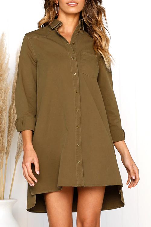 Lovely Fashion Long Sleeves Buttons Design Khaki Cotton Mini Dress