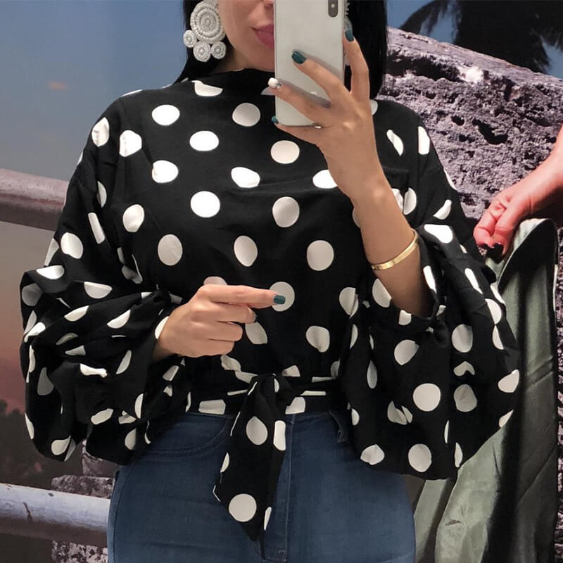 Lovely Trendy Dots Printed Black Blouses