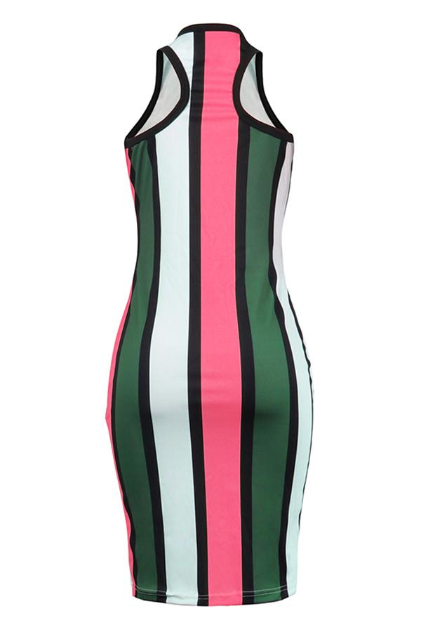Lovely Twilled Satin Fashion Striped Tank Sleeveless V Neck Mid Calf Sheath Dresses