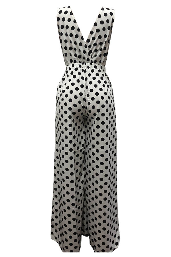 Lovely Casual Dots Printed White  One-piece Jumpsuit