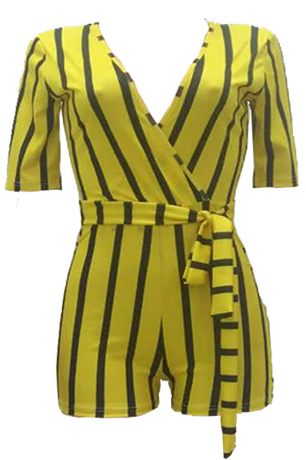 Lovely Casual Striped Yellow Twilled Satin One-piece Rompers