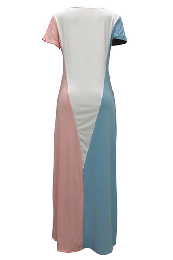Lovely Casual Short Sleeves Patchwork Pink Blending Floor Length Dress
