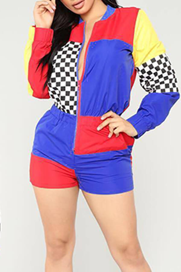 Lovely Trendy Patchwork  Grid Printed Blue One-piece Rompers