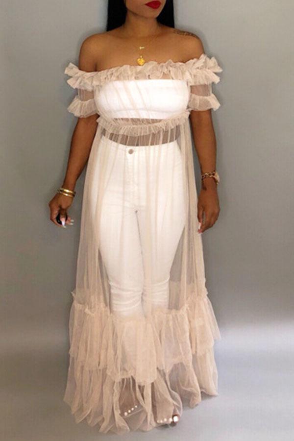 Lovely Fashion See-through Yellowish Rice Gauze Floor Length Dress