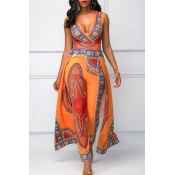 Lovely Ethnic Style Printed Orange One-piece Jumps
