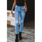 Lovely Trendy Broken Holes Blue Denim Skinny Jeans