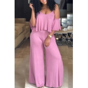 Lovely Casual Dew Shoulder Loose Pink Two-piece Pants Set