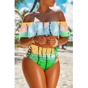 Lovely Euramerican Dew Shoulder Printed  Yellow Two-piece Swimwear
