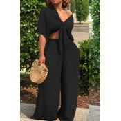 LovelyCasual  Deep V Neck  Loose  Black Two-piece Pants Set