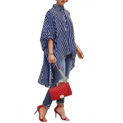 Lovely Casual Asymmetrical Striped Blue Blouse