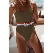 Lovely Euramerican Skinny Green One-piece Swimwear