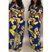 LovelyEuramerican Floral Printed Royal Blue  Two-piece Pants Set