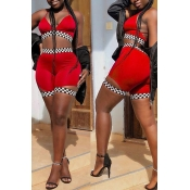 LovelySexy V Neck Plaids Printed Red Polyester Two-piece Shorts Set