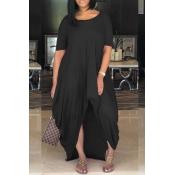 LovelyCasual Asymmetrical Black Floor Length Dress