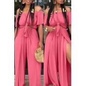 Lovely Euramerican Dew Shoulder Side Slit  Pink Tw