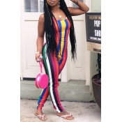 Lovely Trendy Striped Skinny Multicolor One-piece