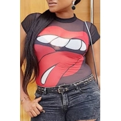 Lovely Fashion See-though Printed Black T-shirt