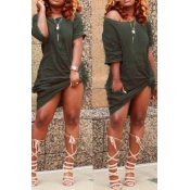 Lovely Casual Knot Design Green Blending Knee Length  Dress