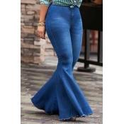 Lovely Trendy High Waist Flared Deep Blue Denim Zi