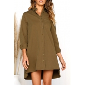 Lovely Fashion Long Sleeves Buttons Design Khaki C